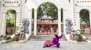 Tai Chi practice. Woman practice Tai Chi in front of the old shrine Royalty Free Stock Photography