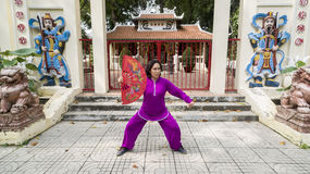 Tai Chi practice. Woman practice Tai Chi in front of the old shrine Royalty Free Stock Photos