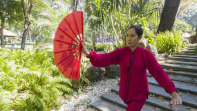 Tai Chi practice. Woman practice Tai Chi in front of the old shrine Royalty Free Stock Photo