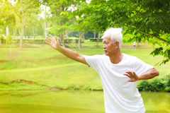 Tai chi senior. Asian senior man practicing tai chi in the park Royalty Free Stock Photography
