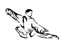 Tai chi. Silhouette of man isolated on whit background vector illustration