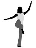 Tai Chi - stance of crane. Tai Chi. Girls silhouette in vector Stock Photography