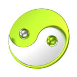 Tai Chi symbol Yin Yang metallic sign. Isolated Yin Yang symbol with metal texture to indicate positive & negative energy. Oriental sign of balance opposite Stock Image