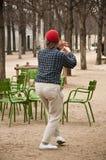Tai chi in Tuileries garden in Paris stock photo