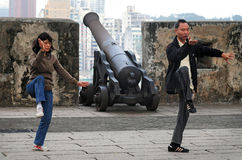 Tai Chi ćwiczenie na Guia wzgórzu, Guia fortecy w Macau Chiny/ Fotografia Royalty Free