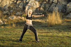 Tai Chi woman in park Royalty Free Stock Images