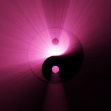 Tai Chi Yin Yang symbol light flare. The Tai Chi (Taiji) sign with powerful deep pink light halo. Significant dark and light contrasts. Extended flares for vector illustration