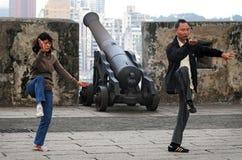 Tai-chien övar på den Guia kullen/den Guia fästningen i Macao Kina Royaltyfri Fotografi
