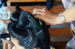 Tai Dam people doing hairdo and Make up Black Tai hairstyle Royalty Free Stock Photo