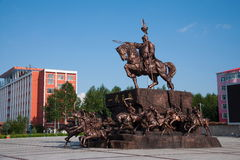 Tai Hing Lam district town of Genghis Khan Square Mangui Stock Image