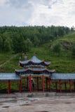 Tai Hing zwiania okręgu korzenia miasta Mangui Rzeczny miasteczko przy stopą sceniczny deptaka kondensata Greenfield zdjęcia royalty free
