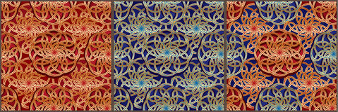 Tai Ji ball golden red blue Asia seamless pattern Stock Images