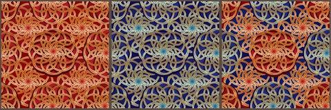 Tai Ji-naadloze patroon van bal het gouden rode blauwe Azië Stock Afbeeldingen