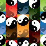 Tai Ji odbija skutka cztery kolorów bezszwowego wzór Obraz Stock