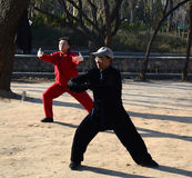 Chinese Taiji Quan. Two people are playing Taiji Quan  at  Park Tianjin China Royalty Free Stock Images