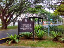 Tai Keng Gardens Playground. A signboard at a children's playground in Tai Keng Gardens, Singapore stock images