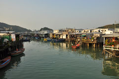 Tai O fishing village, Lantau island Hong Kong. The fishing town of Tai O, on the Lantau island, Hong Kong, China. Stilt houses Stock Images