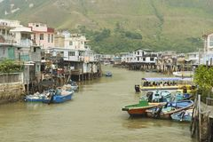 Tai O fishermen village with stilt houses and motorboats in Hong Kong, China. Royalty Free Stock Photos