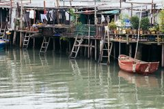 Tai o fishing village, floating house and sea in HongKong stock photo