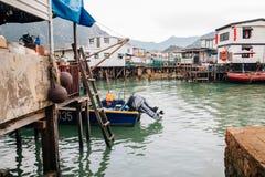Tai o visserijdorp, drijvende huis en overzees in Hongkong royalty-vrije stock foto