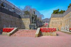 Tai Shih黄钛雕象在秦皇岛,中国 图库摄影