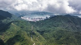 Tai tam reservoir aerial view stock photo