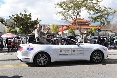 Tai Vong and Charlie Sampson CHP Captains ride in the Los Angeles Chinese New Year Parade stock image