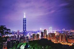 Tai wan Night View. This picutre was taken at Tai Wan. The moment was great Royalty Free Stock Photos