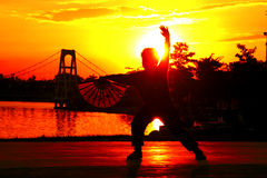 TaiChi or Chinese dance. Power of TaiChi wuxu. Fan dance a way of Chinese exercise Stock Images
