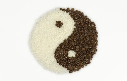 TaiChi Coffee Beans and Rice Royalty Free Stock Photos