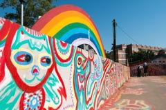 TAICHUNG, ТАЙВАНЬ - 14-ОЕ АПРЕЛЯ: Деревня радуги, красочное graff Стоковое Изображение