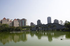 Taichung city with Chinese garden pond Royalty Free Stock Image