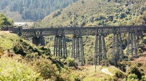 Taieri峡谷新西兰的铁路桥 库存图片
