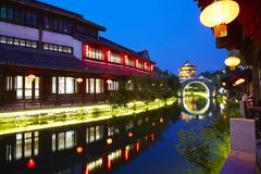 Taierzhuang Ancient City night, China stock photography