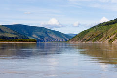 Taiga hills at Yukon River near Dawson City Stock Images