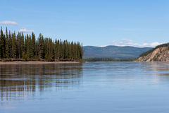 Taiga hills at Yukon River near Dawson City Royalty Free Stock Photos