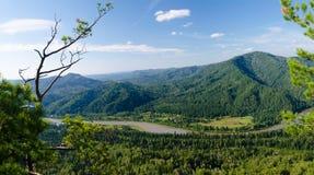 Taiga, montañas y río Imagen de archivo libre de regalías