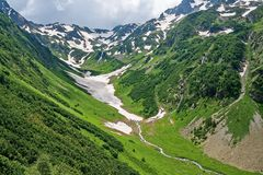Taiga and mountains from a bird`s eye view. Mountain range. Wild nature. Canyon eastern slope of the Sikhote-Alin Range. stock photo