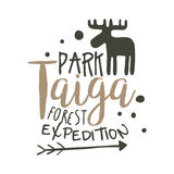 Taiga park forest expedition design template, hand drawn vector Illustration Royalty Free Stock Photo