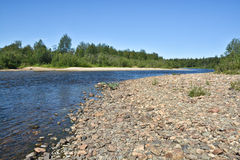 Taiga river in the Northern Urals. Royalty Free Stock Images