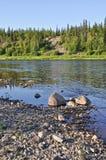 Taiga river Paga, Virgin Komi forests. Royalty Free Stock Image