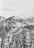 Taiga road among the hills. Charcoal drawing on paper Royalty Free Stock Image