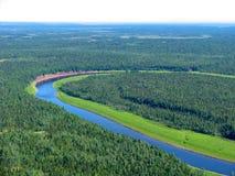 Taiga sibérien - vue aérienne Images libres de droits