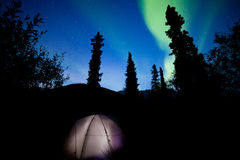 Taiga tent illuminated under northern lights flare Stock Images