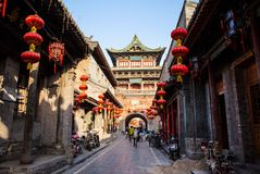 Taigu old town scene-Taigu old town streets and old commercial buildings stock photography