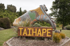 Taihape, New Zealand. Sign and corrugated iron gumboot in Taihape, New Zealand Royalty Free Stock Images