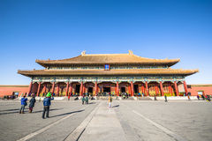 Taihe Hall, the biggest hall in Forbidden City. Beijing, China - December 25, 2014: Tourists visit Forbidden City Stock Photos
