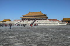 Taihe hall and the square in Forbidden City. Beijing, China - March 13, 2013: Tourists visit Forbidden City Stock Images