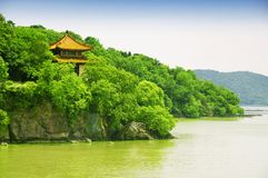 Taihu building wuxi china. A chinese building on the Lake Tai or Taihu scenic area on Turtle island in Wuxi China on a sunny day in Jiangsu province. A chinese stock photos