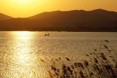 Taihu Jeziorny zmierzch w jesieni Obrazy Royalty Free